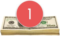 Stack of money with number 1 in a red circle