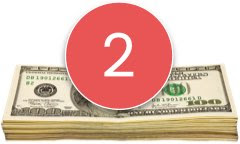 Stack of money with number 2 in a red circle