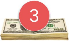 Stack of money with number 3 in a red circle