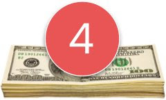 Stack of money with number 4 in a red circle